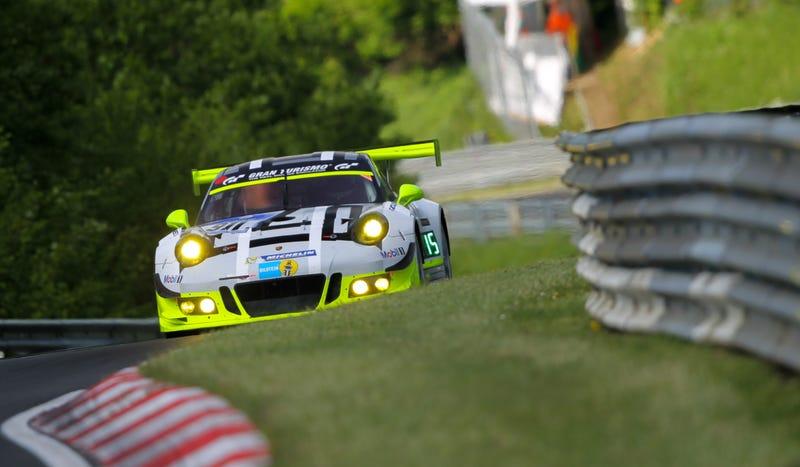 The Manthey Racing Porsche GT3 R during second qualifying. Photo credit: Porsche