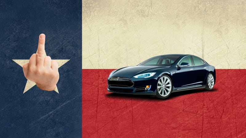 Illustration for article titled How Texas's Absurd Anti-Tesla Laws Turn Car Buying Into A Joke