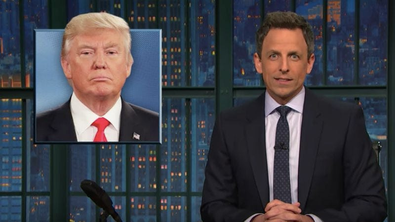 Illustration for article titled Donald Trump's SNL joke theft isn't lost on Seth Meyers