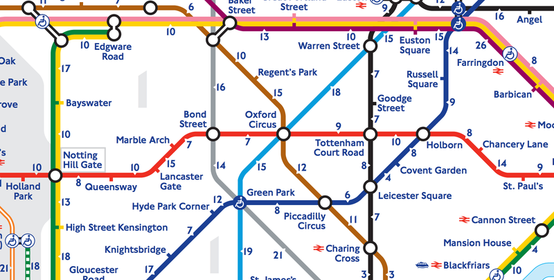 Illustration for article titled New London Tube Map Shows How Long It Takes to Walk, Not Ride a Train