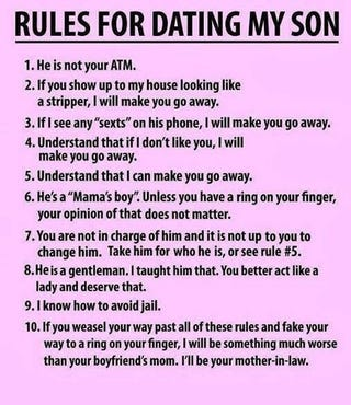 Rules For Dating My Son Images