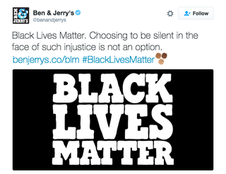 Ben & Jerry's shows support for Black Lives Matter.Twitter