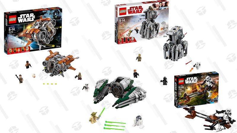 LEGO Star Wars Jakku Quadjumper | $31 | Walmart and AmazonLEGO Star Wars Scout  Trooper & Speeder Bike | $33 | Walmart and AmazonLEGO Star Wars First Order Heavy Scout Walker | $31 | Walmart and Amazon LEGO Star Wars Yoda's Jedi Starfighter | $16 | Amazon