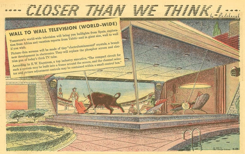 Illustration for article titled When Will 1958's World-Wide TV of the Future Finally Get Here?