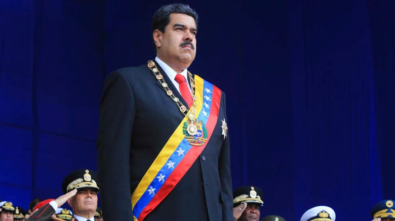Nicolas Maduro, shortly before the explosions on Saturday.