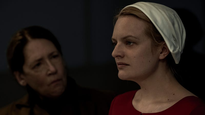 Aunt Lydia (Ann Dowd) confronts Offred (Elisabeth Moss) after the stoning incident.