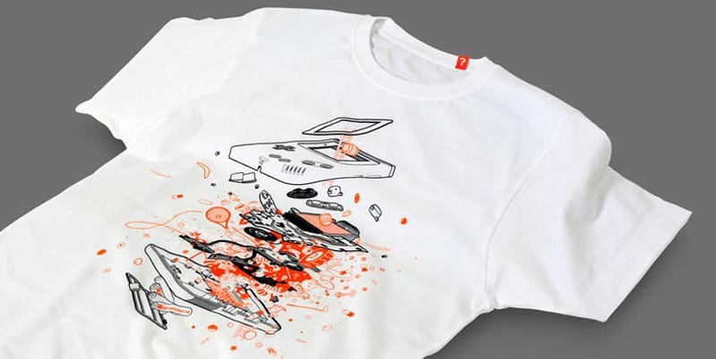 Illustration for article titled The GameBoy Explodes All Over this Beautiful T-Shirt