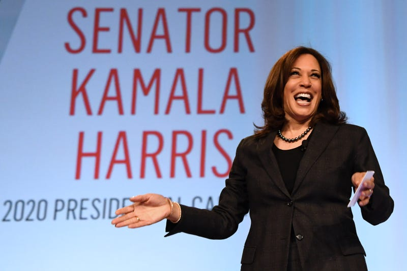 U.S. Sen. Kamala Harris (D-Calif.) is introduced at the 'Conversations that Count' event during the Black Enterprise Women of Power Summit at The Mirage Hotel & Casino on March 1, 2019 in Las Vegas, Nevada. Harris is campaigning for the 2020 Democratic nomination for president.