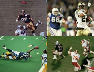 Top row: Lynn Swann (YouTube screenshot); Tracy Porter (Ronald Martinez/Getty Images). Bottom row: Kevin Dyson of the Tennessee Titans being tackled by St. Louis Rams' Mike Jones (Tom Hauck/Getty Images); Marcus Allen (YouTube screenshot).