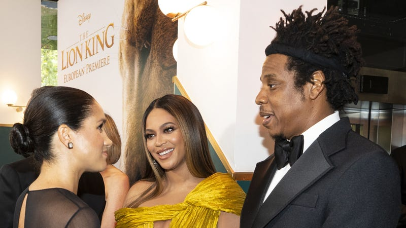 "Meghan, Duchess of Sussex (L) meets cast and crew, including Beyonce Knowles-Carter (C) Jay-Z (R) as she attends the European Premiere of Disney's ""The Lion King"" on July 14, 2019, in London."