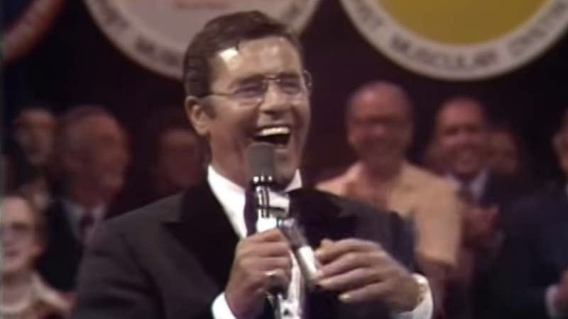 Jerry Lewis, hosting the telethon in 1976