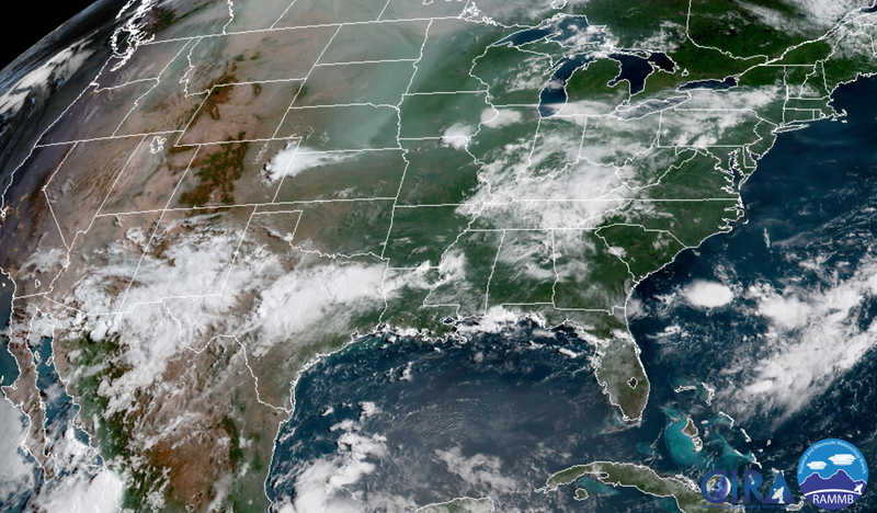 Smoke moving across the U.S. August 10.