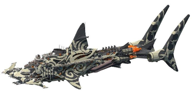Illustration for article titled 2,000,000 Blocks, 40 Days of Work, One Huge-Ass Shark