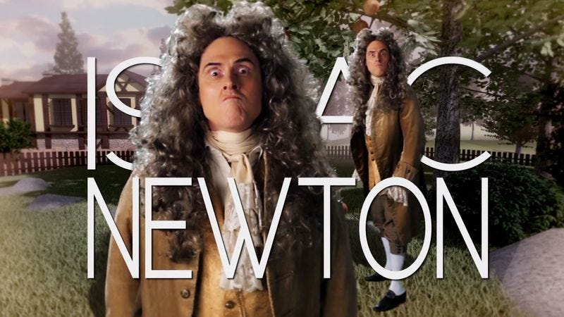 """Illustration for article titled """"Weird Al"""" Yankovic plays Isaac Newton in Epic Rap Battles Of History"""