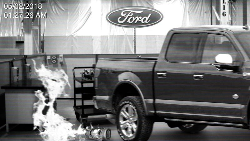 Illustration for article titled Ford Confirms Plant Fire Caused By Spooked F-150 Knocking Over Lantern