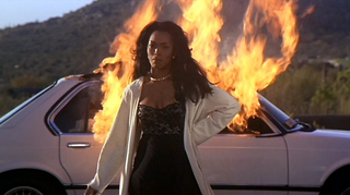 Actress Angela Bassett, playing Bernadine, in a memorable scene from the film adaptation of Terry McMillan's novel Waiting to Exhale20th Century Fox