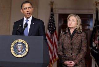 President Obama and Hillary Clinton issue stern warning. (Getty)