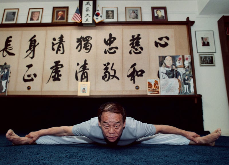 Jhoon Rhee during his daily morning workout in 2002, at age 70.