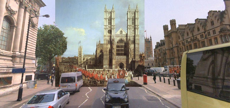 Illustration for article titled Impressive images mix classic paintings and modern London street views