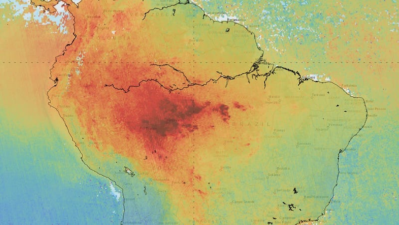 Carbon monoxide emissions over the Amazon for the first two weeks of August