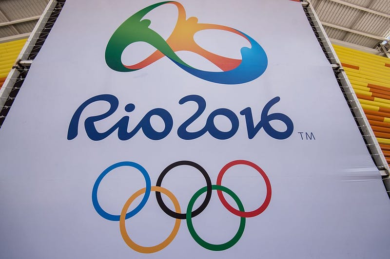 A banner with the Olympic logo for the Rio de Janeiro 2016 Olympic GamesYASUYOSHI CHIBA/AFP/Getty Images