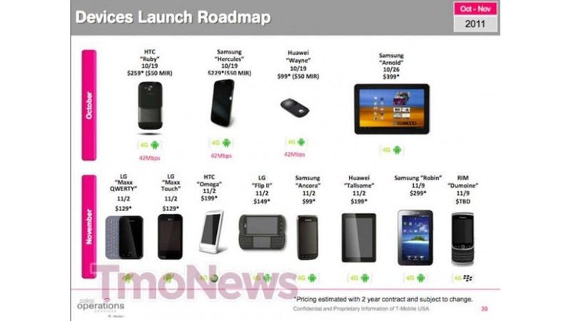 Illustration for article titled Leaked Roadmap Flaunts T-Mobile's Upcoming Goodies