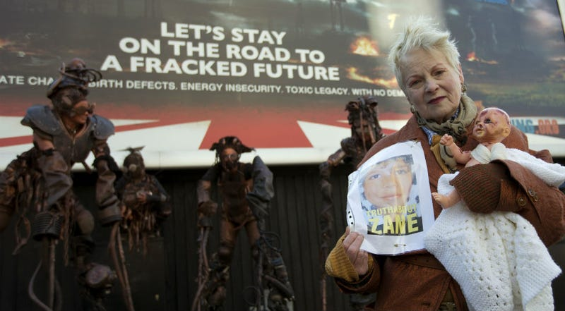 Illustration for article titled Punk Queen Vivienne Westwood Holds Mad Max-Style Anti-Fracking Protest