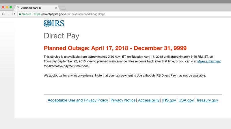 Illustration for article titled IRS Extends Tax Deadline Until Wednesday After Its E-Payment System Melts Down on Tax Day