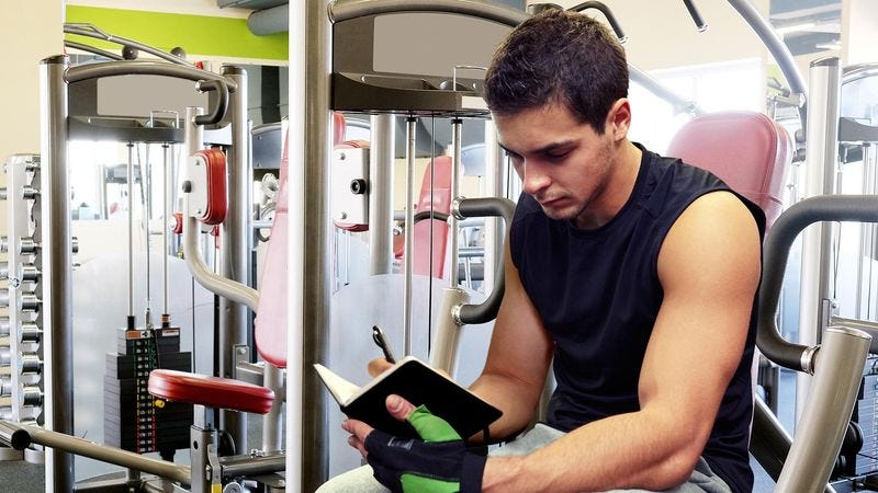 Illustration for article titled Guy At Gym Has Precious Little Diary To Keep Track Of All His Exercises