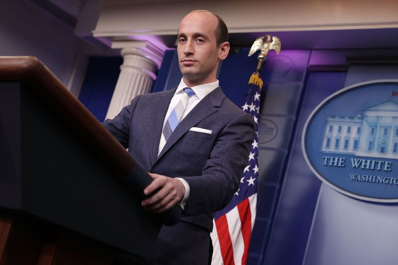 "Stephen Miller, senior adviser to the president for policy, talks to reporters about President Donald Trump's support for creating a ""merit-based immigration system"" at the White House on Aug. 2, 2017. (Chip Somodevilla/Getty Images)"