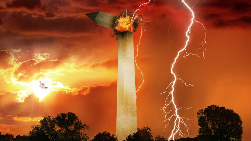 Illustration for article titled Lightning Bolt Blasts Washington Monument As Mike Pence, Pete Buttigieg Locked In Battle Of Prayers On National Mall