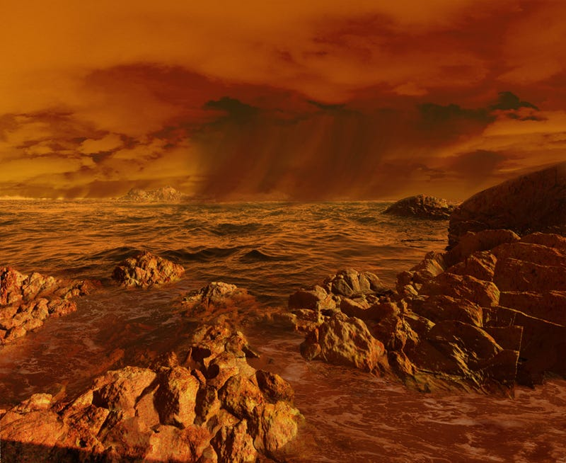 Illustration for article titled Astronomers May Have Spotted Waves On Titan's Seas