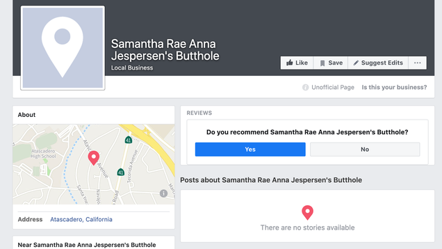The First Thing That Comes Up on Google : The Nightmare of Facebook Listing Your Butthole as a Place