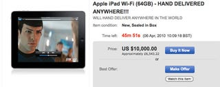 Illustration for article titled $10,000 Will Buy You A Hand-Delivered iPad From eBay Anywhere In The World