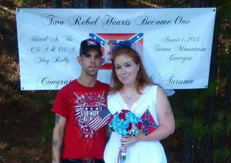 Illustration for article titled A Couple Got Married at a Georgia Confederate Flag Rally