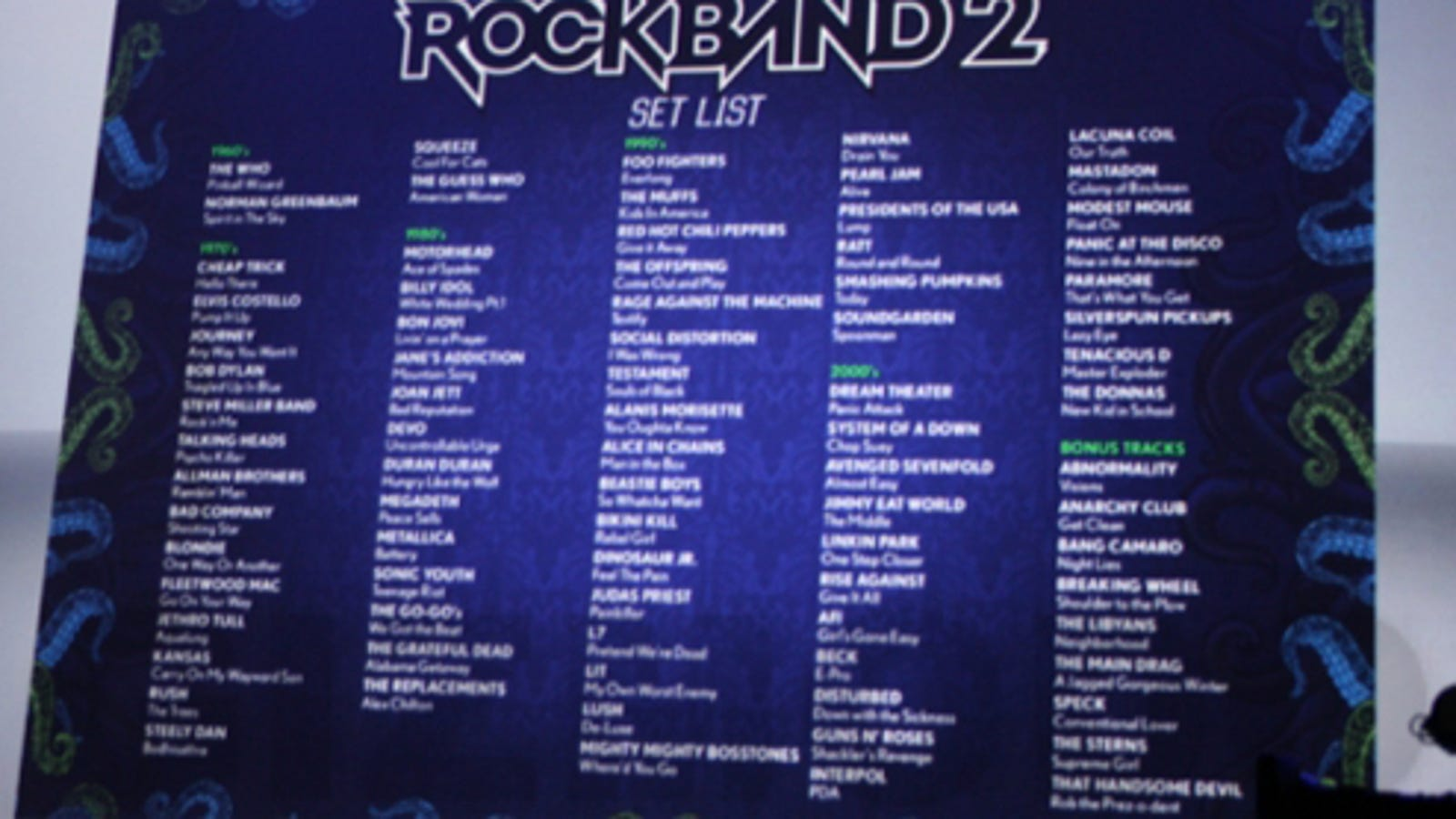 Official Rock Band 2 Track List (Plus Carry Over