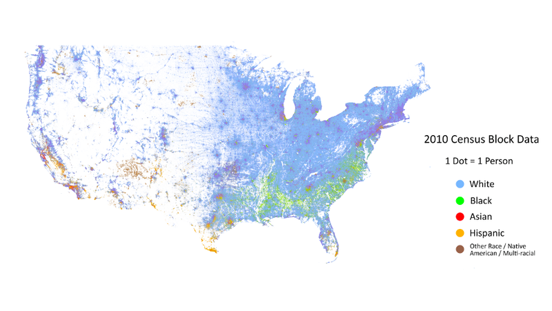 The Entire Distribution Of Ethnicity In The US PersonByPerson - Us map by ethnicity