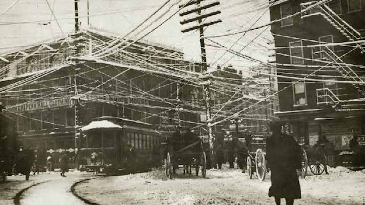 Photos From The Days When Thousands Of Cables Crowded Skies Electrical Wiring Outside Underground