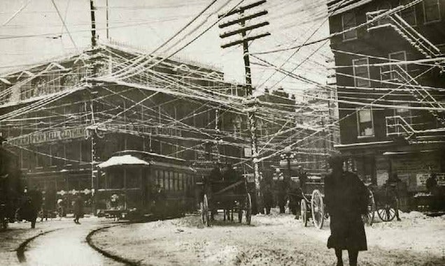 photos from the days when thousands of cables crowded the skies rh io9 gizmodo com Crazy Electrical Wiring India Internet Wiring