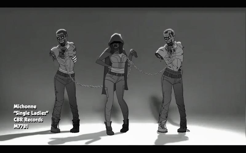 """Illustration for article titled Michonne channels Beyoncé for a """"Single Ladies"""" dance with the zombies"""