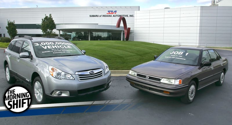 A 2009 AP photo that shows a 1990 Subaru Legacy L, the first car produced at SIA, and a 2010 Subaru Outback 2.5i, the three millionth vehicle to roll off the assembly line there.