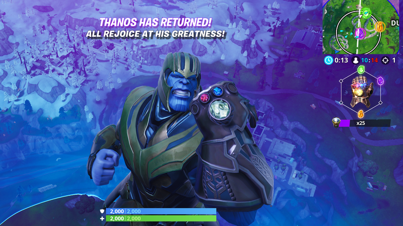 Illustration for article titled Fortnite's Endgame Mode Is Fun Whether You're Wielding Avengers Weapons Or Being Thanos