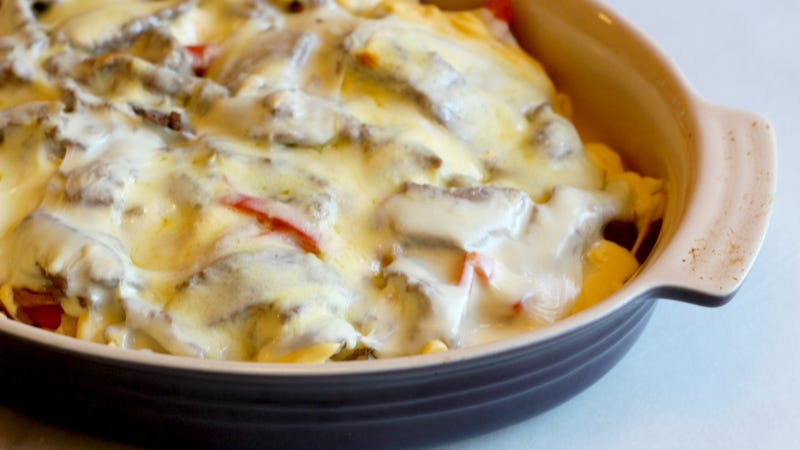 Illustration for article titled Make This Cheesesteak Casserole by Using All the Cheese