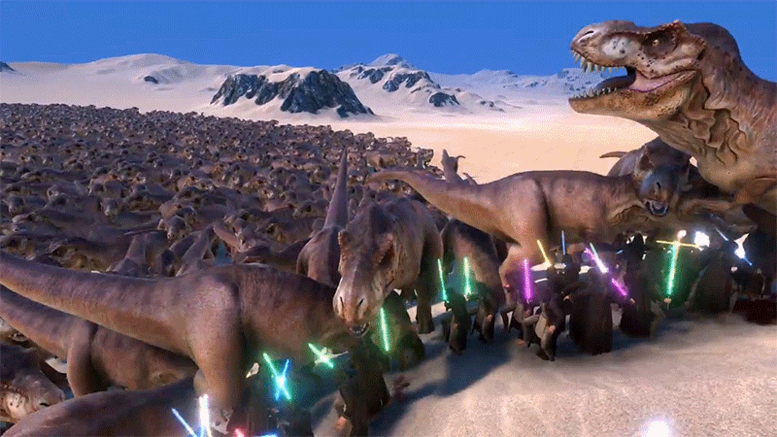 We Finally Know Which Film Franchise Is Better as 20,000 Jedi Battle 3,000 T-rexes