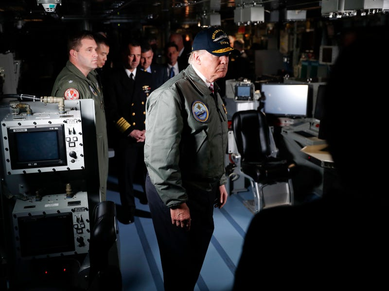 President Trump touring the USS Gerald R. Ford in March (Photo: AP)