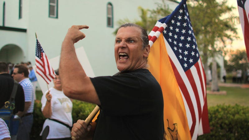 Edward Bender yells in front of the Masjid Jamaat Al-Mumineen Mosque as he and others attempt to have the mosque closed. Protesters from groups like the Tea Party, Americans Against Hate and Citizens of Margate made their views heard.