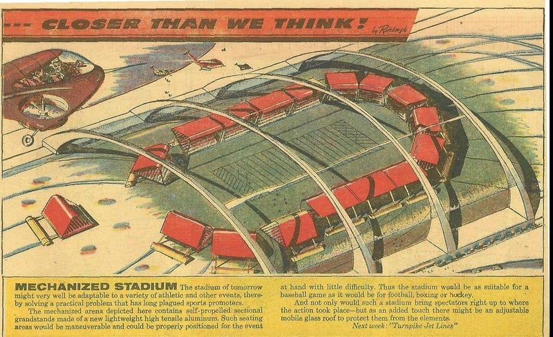 Illustration for article titled Mechanized Stadium of the Future (1958)