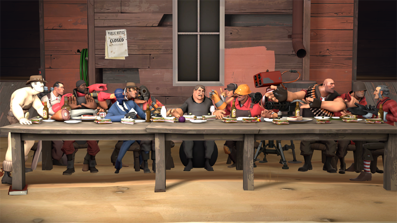 Da Vinci's iconic The Last Supper, turned into a Team Fortress 2 parody, with—who else—Gabe Newe