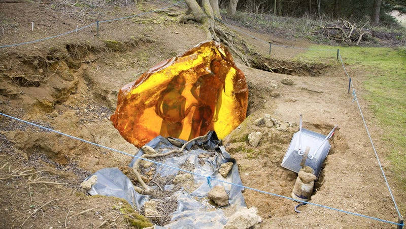 Illustration for article titled Geologists Uncover Slab Of Amber Containing Perfectly Preserved Adam And Eve