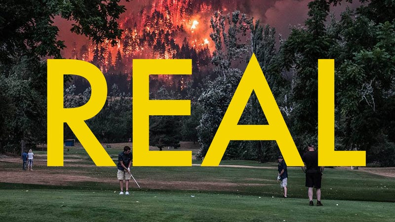 That Viral Photo of People Golfing by a Huge Wildfire Is Actually Real